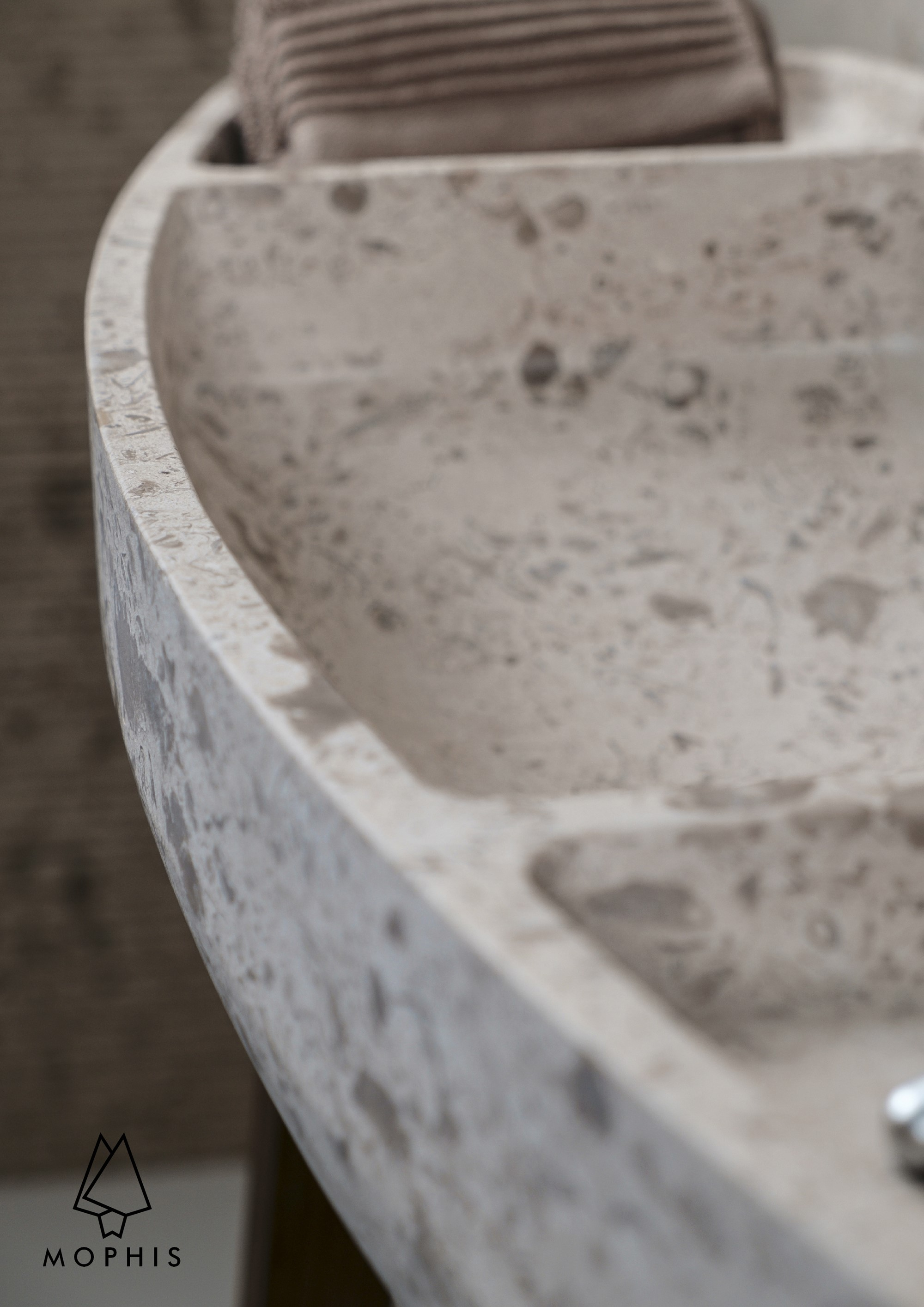 Massive washbasin CNC carved from a single Fossils limestone block